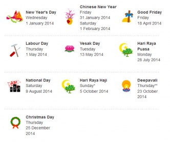 singapore public holiday 2014